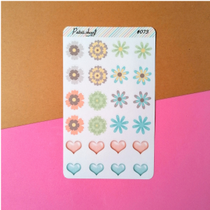 Stickers flores e coracoes